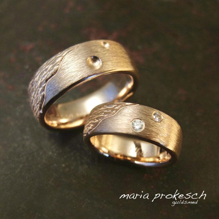 To rustikke overflader med rille – personlige ringe