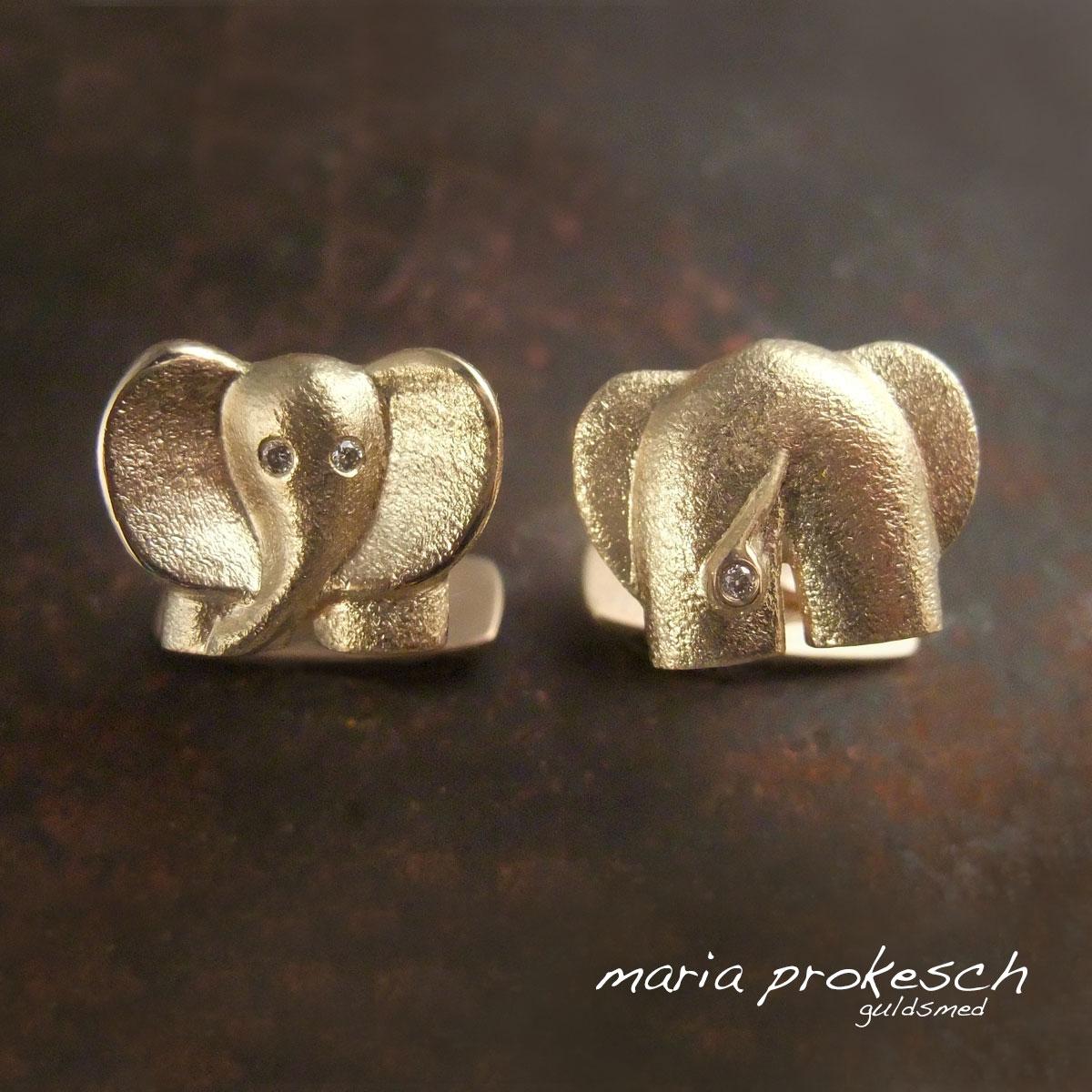 Manchetknapper, elefanter i 14 kt guld med diamanter. Herresmykke, gave til manden der har alt. Lækkert design
