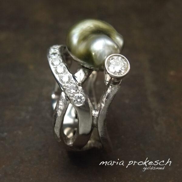 Damering i hvidguld, keshi Fiji perle og diamanter
