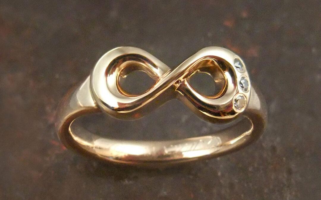 Guldring, uendelighedstegn og diamanter